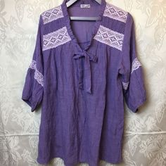 NewLook Peasant Style Tunic Top Bohemian Lace Trim Blouse Womens Sz 12 #NewLook #Tunic #Casual