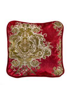 A Loja do Gato Preto | Capa de Almofada Isadora Medalhões Vermelho #alojadogatopreto