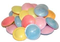 Flying saucers - a sweets classic tasted like card board.