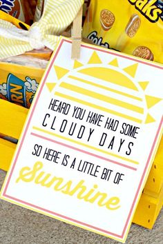 of Sunshine with Printable Basket of Sunshine and free printable gift tag. A fun gift idea for a neighbor or a friend on irtyhandmad.Basket of Sunshine and free printable gift tag. A fun gift idea for a neighbor or a friend on irtyhandmad. Craft Gifts, Diy Gifts, Best Gifts, Basket Of Sunshine, Sunshine Box, Sunshine Printable, Hospital Gifts, Free Printable Gift Tags, Free Printables