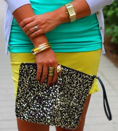 Turquoise, lemon and sequin.....what's not to love?   www.stylejunkymagazine.com