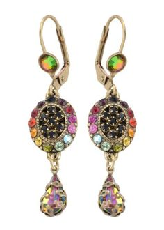 Victorian Elegance Michal Negrin Enticing Dangle Earrings Ornate with Oval Elements, Black and Multicolor Swarovski Crystals and Vitrail Tear Drop Charms