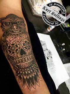 #kurtrollings #belgiumtattooartist #mexicanskulltattoo #owlmexicanskulltattoo #inked #tattooed #armtattoo