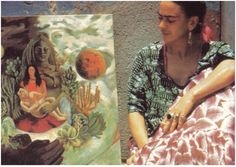 """Frida Kahlo with her painting """"The Love Embrace of the Universe"""""""
