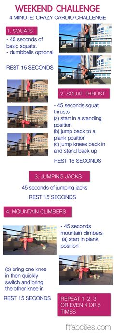 weekend challenge: 4 minute cardio challenge...or get crazy & do this circuit 4 or 5 times for 16-20min workout ;)