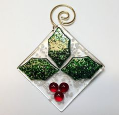 Fused Glass Christmas Tree Ornament by stainedglasswv on Etsy