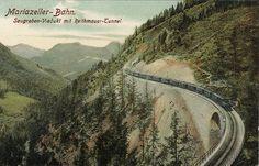 Die Mariazellerbahn, abgekürzt mit MzB, ist eine elektrifizierte Schmalspurbahn mit einer Spurweite von 760 Millimetern in Österreich. Die Gebirgsbahn verbindet die niederösterreichische Landeshauptstadt St. Pölten mit dem steirischen Wallfahrtsort Mariazell, ursprünglich führte sie weiter bis Gußwerk. Der ursprüngliche, amtliche Name lautete Niederösterreichisch-steirische Alpenbahn. Bahn, Austria, Mountains, Nature, Tours, Inspiration, Paths, Iron, Trench