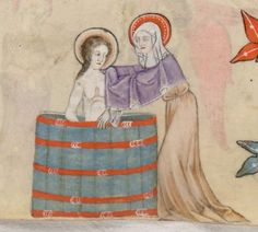 Anne giving a teenager Mary a bath. British Library Add. MS 42130, f.97v