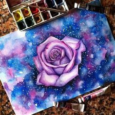art, colors, drawing, flower, galaxy, pencil, purple