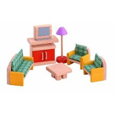 Dollhouse Furniture - PLAN TOYS Dollhouse Furniture Neo Living Room -- Click image for more details. Dollhouse Toys, Wooden Dollhouse, Dollhouse Furniture, Furniture Plans, Home Furniture, Furniture Sets, Cardboard Dollhouse, Dollhouse Family, Dollhouse Design