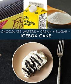 Wafers de chocolate  + creme + açúcar = bolo de geladeira | 33 receitas geniais de apenas três ingredientes