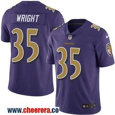 Men's Baltimore Ravens #35 Shareece Wright Purple 2016 Color Rush Stitched NFL Nike Limited Jersey