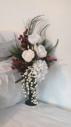 Best Garden Decorations Tips and Tricks You Need to Know - Modern Fake Flower Centerpieces, Winter Flower Arrangements, Funeral Flower Arrangements, Christmas Arrangements, Flower Decorations, Christmas Vases, Christmas Centerpieces, Holiday Decorations, Grave Flowers