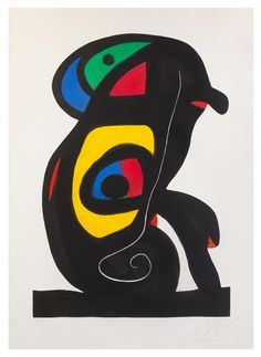 "Available for sale from Christopher-Clark Fine Art, Joan Miró, LE BRAHMANE (The Brahman) Original aquatint, carborundum and scraper printed in colors on Arches wove paper bearing the ""MAEGHT"" watermark. Joan Miro Paintings, Spanish Painters, Art Moderne, Modern Artists, Max Ernst, Oeuvre D'art, Art Lessons, Abstract Art, Fine Art"