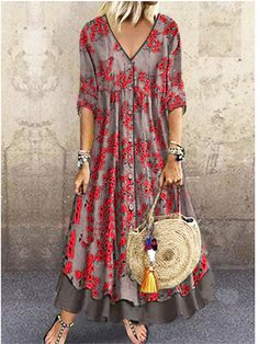 Women's Street chic Maxi Shift Dress - Geometric Print V Neck Green Red Gray M L Women's A Line Dresses, Cheap Maxi Dresses, Half Sleeve Dresses, Necklines For Dresses, Types Of Dresses, Maxi Dress With Sleeves, Casual Dresses, Fashion Dresses, Dresses Dresses