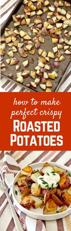 Don't settle for soggy potatoes. Learn how to make crispy roasted potatoes - it's SO easy! They're irresistibly delicious. Recipe on RachelCooks.com