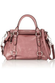 Miu Miusmall bow-embellished glossed-leather tote
