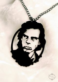 Nick Cave tribute portrait necklace in black by FableAndFury, $32.00