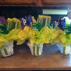 Over the hill centerpieces. Use a vase and wrap with an adult diaper and tie the top with ribbon. I filled with muscle rub hemorrhoid cream and gas relief and tissue paper as a filler Moms 50th Birthday, Birthday Gag Gifts, Birthday Party Tables, 50th Party, Birthday Ideas, Diy Party Decorations, Birthday Decorations, Over The Hill Gifts, Sunshine Birthday