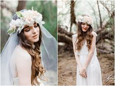 images floral bridal head wreath with veil - Google Search