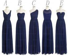 O Envio gratuito de Estilos Chiffon Até O Chão Longo Azul Marinho Escuro BD242 Evento Vestido Vestido de Dama de honra de Casamento Das Mulheres Por Atacado(China (Mainland))