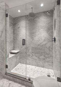 White subway tile bathroom inspiration tile shower 7 home Gray Shower Tile, White Subway Tile Bathroom, Master Bathroom Shower, Bathroom Wall Decor, Modern Bathroom, Bathroom Grey, Marble Bathrooms, Gray Bathrooms, Gray Tiles