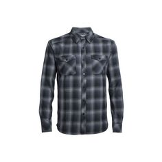 Men's Icebreaker Lodge Long Sleeve Flannel Shirt - Metro... ($180) ❤ liked on Polyvore featuring men's fashion, men's clothing, men's shirts, men's casual shirts, mens long sleeve plaid shirts, mens longsleeve shirts, mens summer shirts, mens checkered shirts and mens plaid flannel shirts