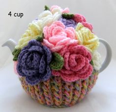 Your place to buy and sell all things handmade Hand Knitted Spring Rose Basket - 4 cup floral tea cosy Always aspired to learn to knit, yet not certain where do you st. Tea Cosy Knitting Pattern, Hand Knitting, Knitting Patterns, Finger Knitting, Scarf Patterns, Knitting Tutorials, Rose Basket, Hand Crochet, Crocheted Lace