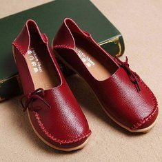 Hot-sale Big Size Pure Color Breathable Soft Leather Flat Loafers - NewChic Mobile
