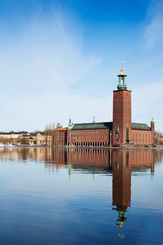 Stockholm City Hall: The City Hall was designed by the architect Ragnar Östberg, and opened on Midsummer Eve in 1923. It is ibuilt from eight million bricks, and the 106 meter tall tower has the three crowns, which is the Swedish national coat of arms, at its apex. At the southeastern tip of Kungsholmen island.