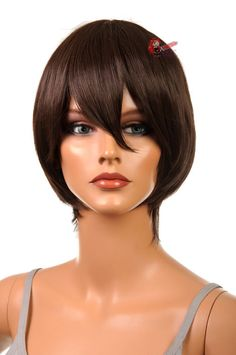 "Our Aether style is a short and sleek cut perfect for male hair styles or extra short female hair styles ! The cap size is 24 inch. This wig is 12"" long with la"