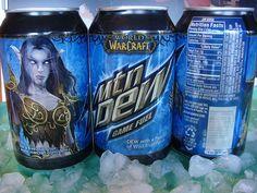 world of warcraft mt dew cans. had these, were surprisingly good. World Of Warcraft 3, Rpg World, Death Knight, Blood Elf, Night Elf, Mountain Dew, Archie Comics, Paladin, Skyrim