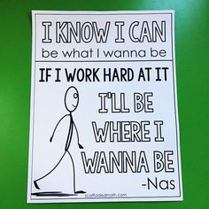 """Here is an """"I Know I Can"""" motivational classroom poster with words from Nas. I heard from a bunch of teachers that their students thought the words were from Lil Nas X. Nothing makes a person feel older, lol. Math Bulletin Boards, Math Classroom Decorations, Math Word Walls, Math Anchor Charts, Math Poster, High School Classroom, Classroom Community, Classroom Posters, Teaching Math"""