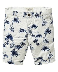These tailored summer shorts are sure to grab attention, thanks to the allover palm tree print. http://webstore-all.scotch-soda.com/men/shorts/hawaiian-print-chino-shorts/14050387095.html?dwvar_14050387095_color=denim%20white