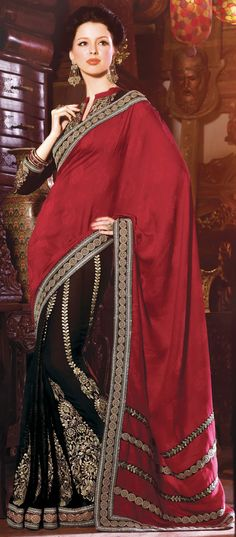 Mesmerizing Red and Black Faux Georgette Embroidered Saree With Blouse - IG5596 USD $ 127.84
