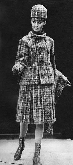 Dior 1964 vintage fashion designer style wool plaid suit jacket skirt hat wrap shawl modern looks double breasted