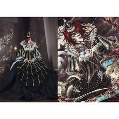 Ester Blanchett Trinity Blood Sister Queen Cosplay Dress Costume Manga Anime Thores Shibamoto (€1.785) found on Polyvore featuring dark olive, dresses and women's clothing