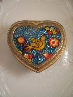 Vintage Foil Backed Reverse Painted Dove by ScratchThatKitsch, $12.00