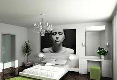 Een grote foto aan de muur geeft een heel eigen karakter