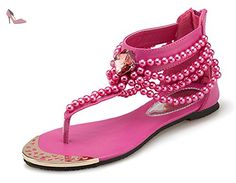Aisun Femme Brillant Clip Toe Perles Talon Plat Sandales Rouge 39 - Chaussures aisun (*Partner-Link)