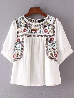 Shop White Embroidery Elbow Sleeve Keyhole Blouse online. SheIn offers White Embroidery Elbow Sleeve Keyhole Blouse & more to fit your fashionable needs. Embroidered Clothes, Embroidered Flowers, Zara Embroidered Top, Cotton Blouses, Shirt Blouses, White Cotton Blouse, White Peplum, Summer Shirts, Summer Blouses