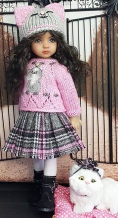 "SWEATER,SKIRT&KITTY SET MADE FOR EFFNER LITTLE DARLING 13""&AVERY MY MEADOW DOLL"