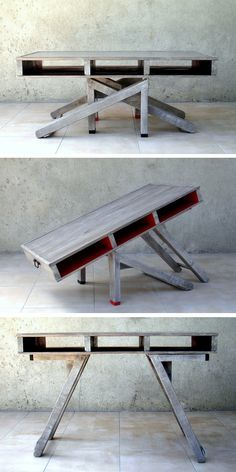 Table transformable en palette You can find more Hostel creative design ideas at. Folding Furniture, Pallet Furniture, Living Room Furniture, Furniture Design, Furniture Refinishing, Table Transformable, Palette Table, Multipurpose Furniture, Diy Table