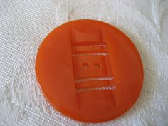 Large VINTAGE Pierced Carved Orange Casein BUTTON by abandc