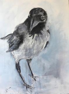 raven, crow by Lida Meines Crows Ravens, Creative, Canvas, Animals, Painting, Halloween, School, Black, Animales