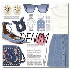 """""""Jean-ious Accessories"""" by miee0105 ❤ liked on Polyvore featuring Aquazzura, Keepsake the Label, Topshop, Valentino, Cath Kidston, Anne Klein, Mawi, L. Erickson and Maison Margiela"""