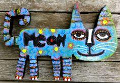 Tracey Ann Finley Original Outsider Folk Mini Blue Cat Wood Cutout Painting .99! #OutsiderArt