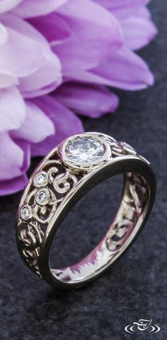 palladium white gold band style engagement ring with carved swirl design with accent diamonds totaling Center set with diamond. Engagement Bands, Antique Engagement Rings, Antique Rings, Buy Diamond Ring, Diamond Wedding Bands, Diamond Jewelry, Silver Jewelry, Silver Ring, Ring Designs