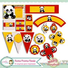 Kit Festa Panda by Renata Prado e Lu Ifanger - R$20,00 : Boutique do Scrap