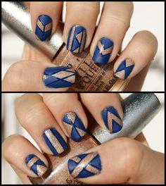 Art Deco Nails w/ Striping Tape